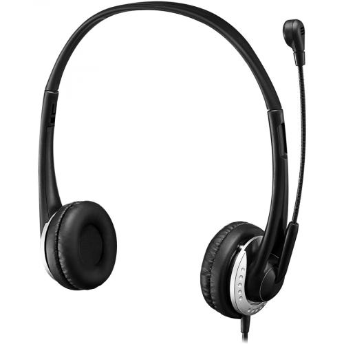 Adesso USB Stereo Headset With Adjustable Microphone  Noise Cancelling  Mono   USB   Wired   Over The Head   6 Ft Cable  , Omni Directional Microphone   Black Alternate-Image5/500