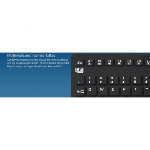 Adesso SlimTouch 270   Antimicrobial Waterproof Touchpad Keyboard Alternate-Image6/500