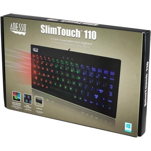 Adesso SlimTouch 110   3 Color Illuminated Mini Keyboard Alternate-Image6/500