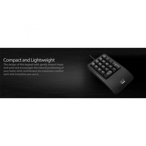 Adesso AKB 618  Antimicrobial Waterproof Numeric Keypad With Wrist Rest Support Alternate-Image6/500