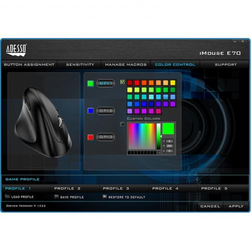 Adesso IMouse E70   2.4 GHz Wireless Vertical Lefthanded Programmable Mouse Alternate-Image6/500