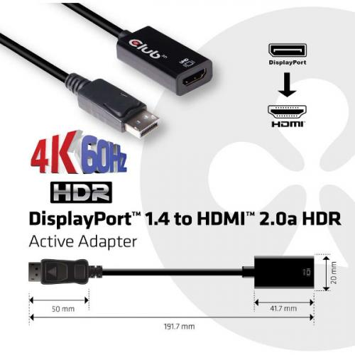 Club 3D DisplayPort 1.4 To HDMI 2.0a HDR Alternate-Image6/500