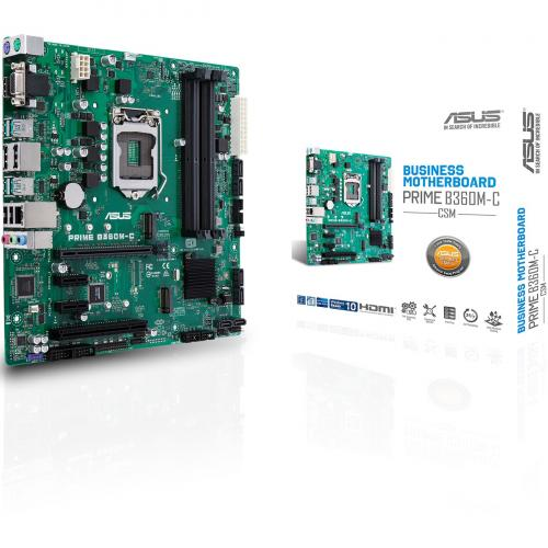 Asus Prime B360M C/CSM Desktop Motherboard   Intel Chipset   Socket H4 LGA 1151 Alternate-Image6/500