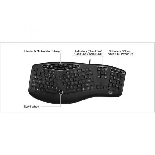 Adesso TruForm Media 160   Ergonomic Desktop Keyboard Alternate-Image6/500