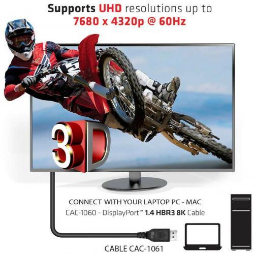Club 3D DisplayPort 1.4 HBR3 8K Cable Male/Male 5M / 16.40ft. Alternate-Image6/500