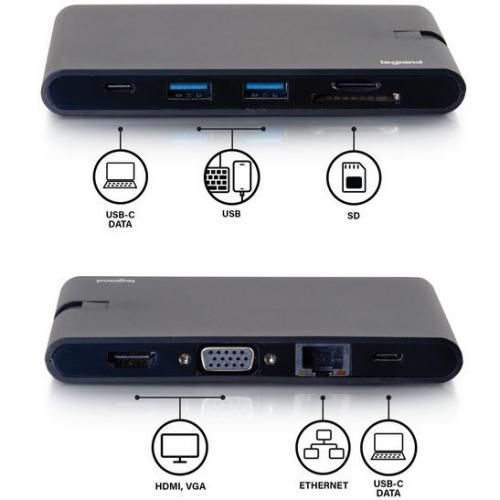 C2G USB C Dock With HDMI, VGA, Ethernet, USB, SD & Power Delivery Up To 100W Alternate-Image6/500
