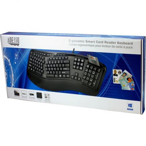 Adesso Desktop Ergonomic Smart Card Reader Keyboard (TAA Compliant) Alternate-Image6/500