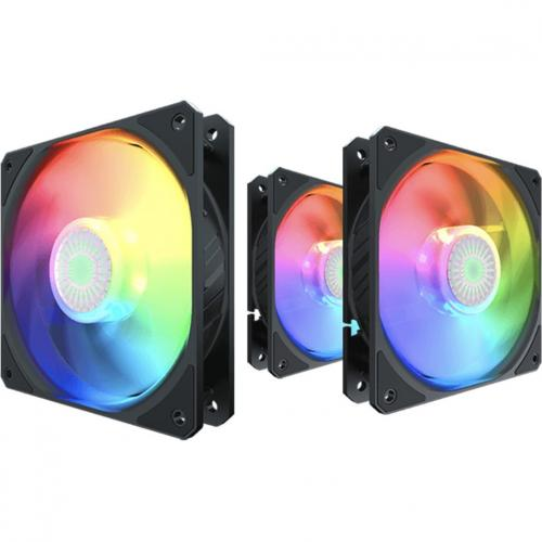 Cooler Master SickleFlow 120 V2 ARGB 3in1 120mm Square Frame Fan, Customizable LEDS, Air Balance Curve Blade Design, Sealed Bearing, PWM Control For Computer Case And Liquid Radiator Alternate-Image6/500