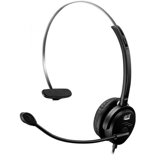 Adesso USB Single Sided Headset With Adjustable Microphone  Noise Cancelling  Mono   USB   Wired   Over The Head   6 Ft Cable  , Omni Directional Microphone   Black Alternate-Image6/500