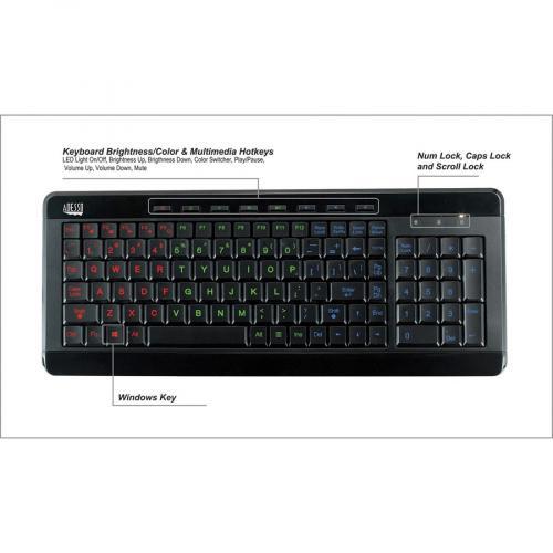 Adesso SlimTouch 120   3 Color Illuminated Compact Multimedia Keyboard Alternate-Image7/500