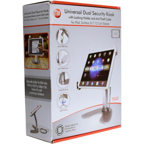 CTA Digital Universal Dual Security Kiosk With Locking Holder And Anti Theft Cable For 7 13 Inch Tablets Alternate-Image7/500