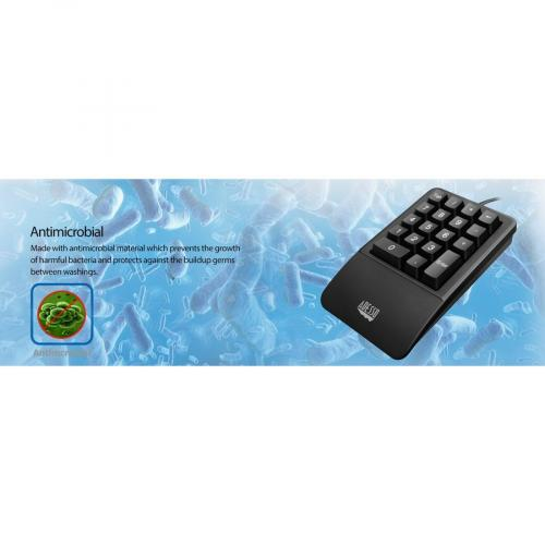 Adesso AKB 618  Antimicrobial Waterproof Numeric Keypad With Wrist Rest Support Alternate-Image7/500