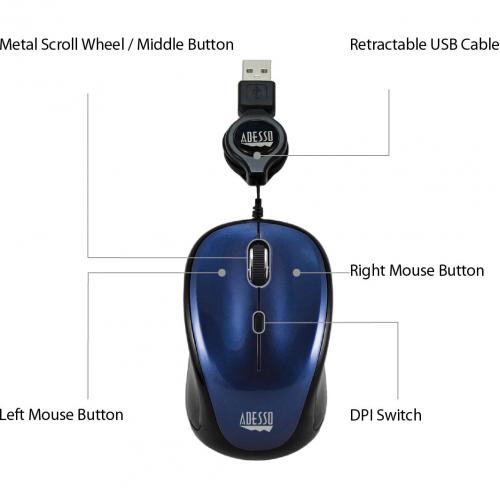 Adesso IMouse S8L   USB Illuminated Retractable Mini Mouse Alternate-Image7/500