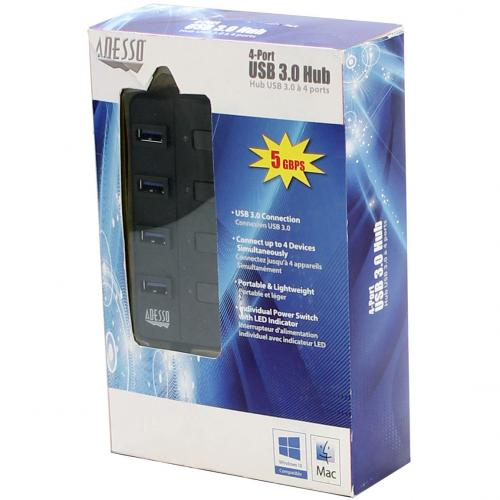Adesso 4 Ports USB 3.0 Hub Alternate-Image7/500