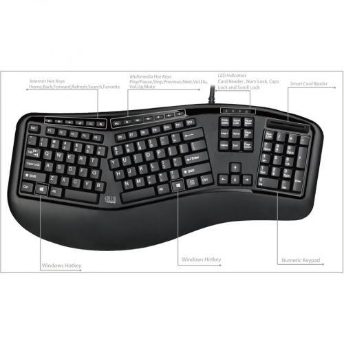 Adesso Desktop Ergonomic Smart Card Reader Keyboard (TAA Compliant) Alternate-Image7/500