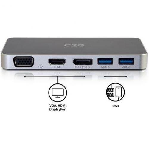 C2G Dual Monitor Docking Station   USB C To 4K HDMI, DIsplayPort & VGA Alternate-Image7/500