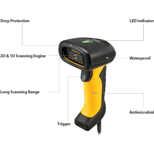 Adesso NuScan 5200TU  Antimicrobial & Waterproof 2D Barcode Scanner Alternate-Image8/500