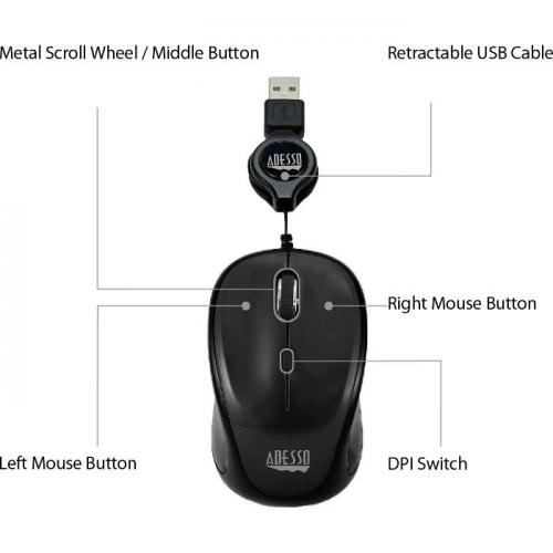Adesso IMouse S8B   USB Illuminated Retractable Mini Mouse Alternate-Image8/500
