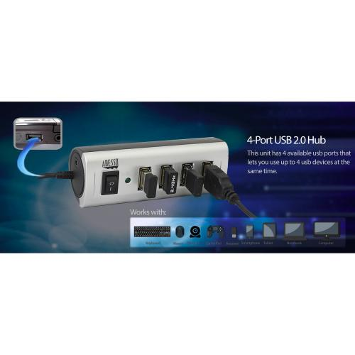 Adesso AUH 2040   4 Port USB 2.0 Hub Alternate-Image8/500
