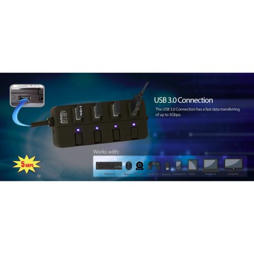 Adesso 4 Ports USB 3.0 Hub Alternate-Image8/500