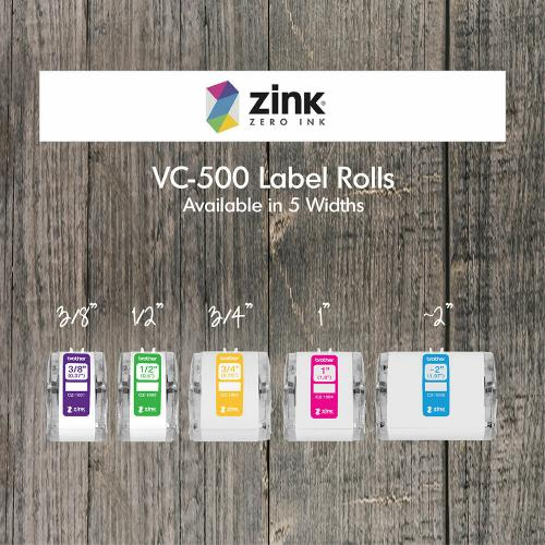 """Brother Genuine CZ 1001 3/8"""" (0.37"""") 9mm Wide X 16.4 Ft. (5 M) Long Label Roll Featuring ZINK® Zero Ink Technology Alternate-Image8/500"""
