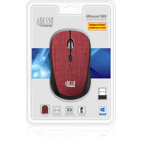 Adesso IMouse S80R   Wireless Fabric Optical Mini Mouse (Red) Alternate-Image8/500