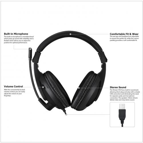 Adesso Xtream H5U   USB Stereo Headset With Microphone   Noise Cancelling   Wired  Lightweight Alternate-Image8/500
