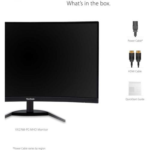 "Viewsonic VX2768 PC MHD 27"" Full HD Curved Screen LED Gaming LCD Monitor   16:9 Alternate-Image8/500"
