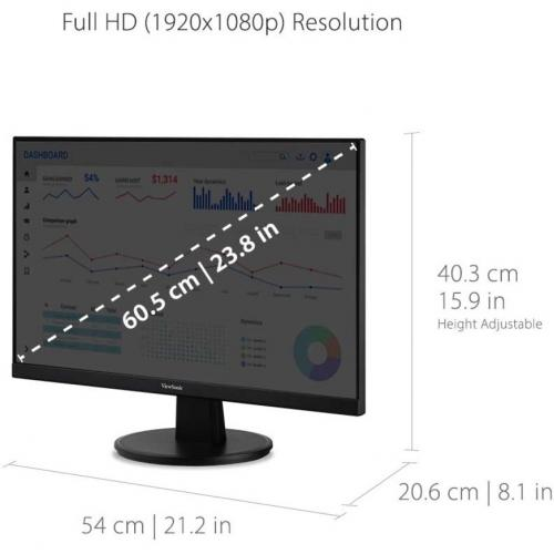 "Viewsonic VA2447 MH 23.8"" Full HD LED LCD Monitor   16:9   Black Alternate-Image8/500"
