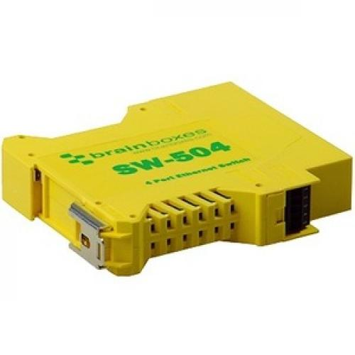 Brainboxes Industrial Ethernet 4 Port Switch DIN Rail Mountable Bottom/500