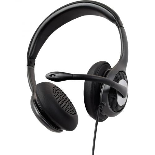 V7 USB C Deluxe Headset With Noise Cancelling Mic, Volume Control, Digital Headset, Laptop Computer, Chromebook, PC   Black, Gray Bottom/500