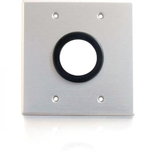 C2G 1.5in Grommet Cable Pass Through Double Gang Wall Plate   Brushed Aluminum Front/500