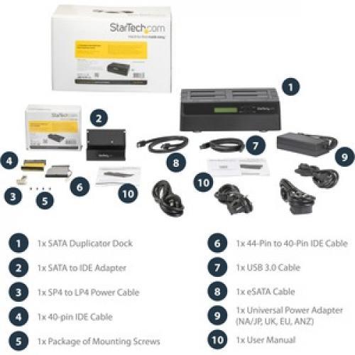 StarTech.com 4 Bay USB 3.0 ESATA To SATA Standalone 1:3 HDD Hard Drive Duplicator Dock Front/500