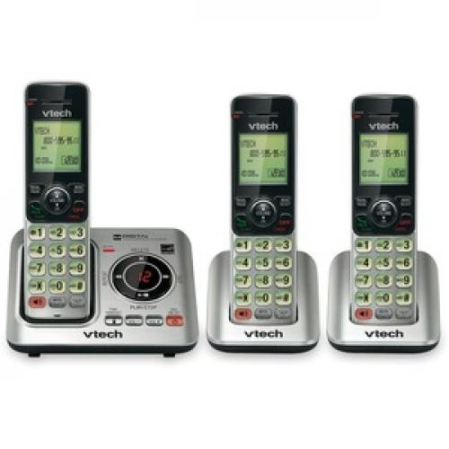 VTech CS6629 3 DECT 6.0 Expandable Cordless Phone With Answering System And Caller ID/Call Waiting, Silver With 3 Handsets Front/500