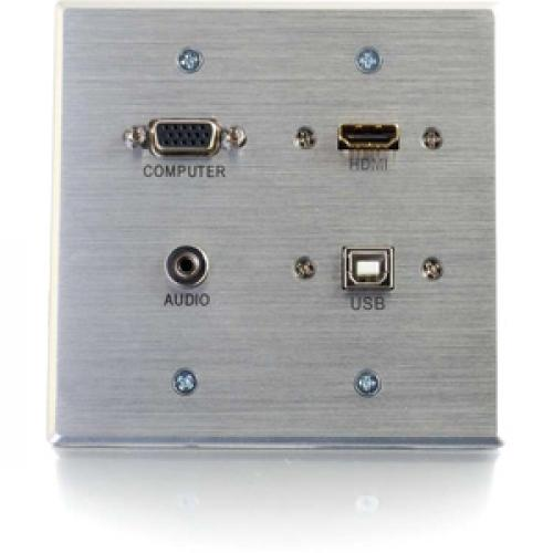 C2G HDMI, VGA, 3.5mm Audio And USB Pass Through Wall Plate   Double Gang Front/500