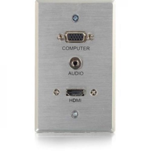 C2G HDMI, VGA + 3.5mm Pass Through Single Gang Wall Plate   Aluminum Front/500