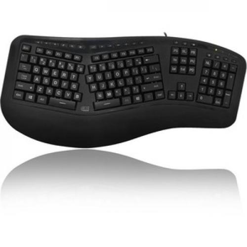 Adesso Tru Form 150   3 Color Illuminated Ergonomic Keyboard Front/500