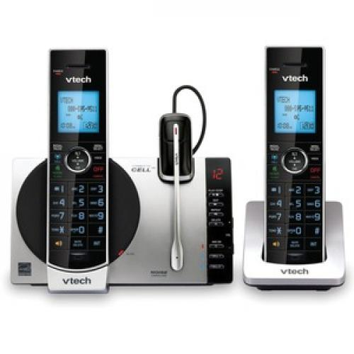 VTech Connect To Cell DS6771 3 DECT 6.0 Cordless Phone   Black, Silver Front/500