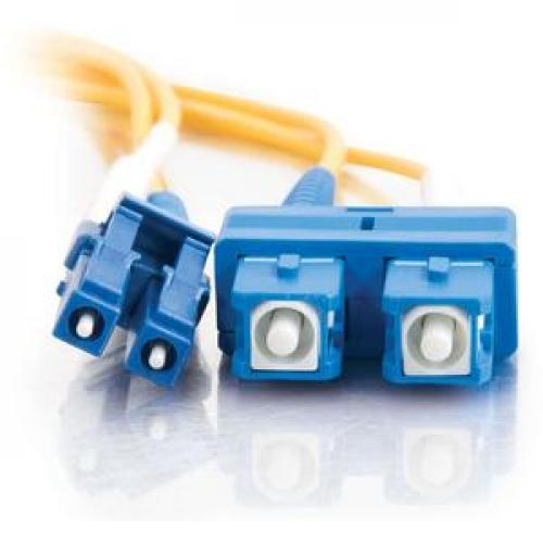 C2G 3m LC SC 9/125 Duplex Single Mode OS2 Fiber Cable   Yellow   10ft Front/500