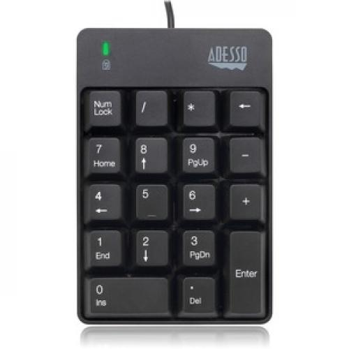 Adesso AKB 601UB   USB Spill Resistant 18 Key Numeric Keypad Front/500