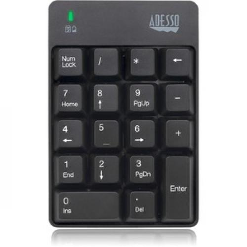 Adesso WKB 6010UB   Wireless Spill Resistant 18 Key Numeric Keypad Front/500