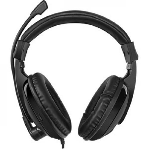 Adesso Xtream H5 Multimedia Headset With Built In Microphone Black   6 Ft Cable Length   3.5mm Audio Jack   Stereo Sound Mode   Omni Directional Microphone Front/500