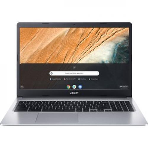 "Acer 315 15.6"" Chromebook Intel Celeron N4020 4GB RAM 32GB EMMC Pure Silver   Intel Celeron N4020 Dual Core   Intel UHD Graphics 600   Built In Webcam & Microphone   Chrome OS   12.5 Hr Battery Life Front/500"