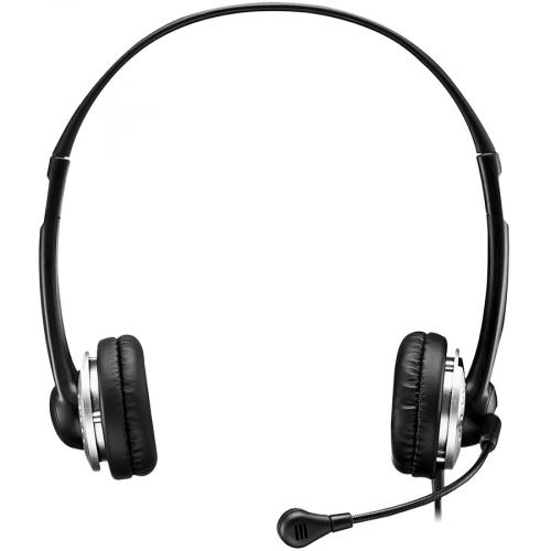 Adesso USB Stereo Headset With Adjustable Microphone  Noise Cancelling  Mono   USB   Wired   Over The Head   6 Ft Cable  , Omni Directional Microphone   Black Front/500