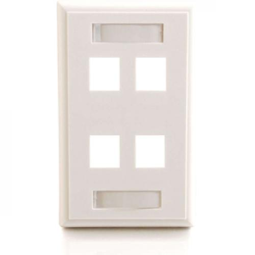 C2G 4 Port Single Gang Multimedia Keystone Wall Plate   White Front/500