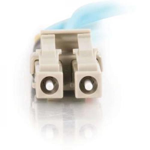 C2G 1m LC LC 10Gb 50/125 Duplex Multimode OM3 Fiber Cable  Aqua  3ft Front/500