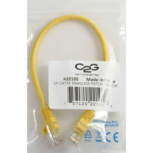 C2G 7ft Cat5e Snagless Unshielded (UTP) Network Patch Cable   Yellow In-Package/500
