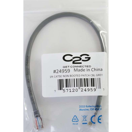 C2G 5ft Cat5e Non Booted Unshielded (UTP) Network Patch Cable   Gray In-Package/500