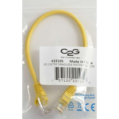 C2G 3ft Cat5e Snagless Unshielded (UTP) Network Patch Cable   Yellow In-Package/500