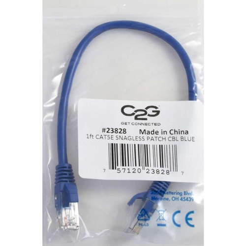 C2G 10ft Cat5e Snagless Unshielded (UTP) Network Patch Ethernet Cable Blue In-Package/500
